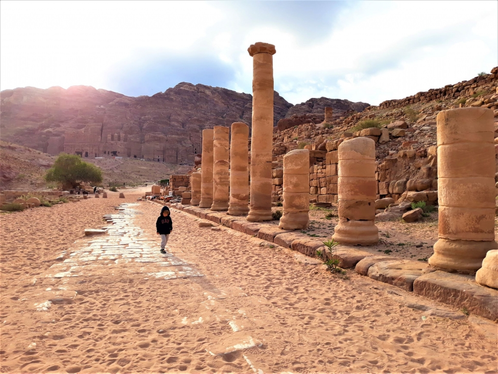 Kids visiting Colonnaded Street in Petra