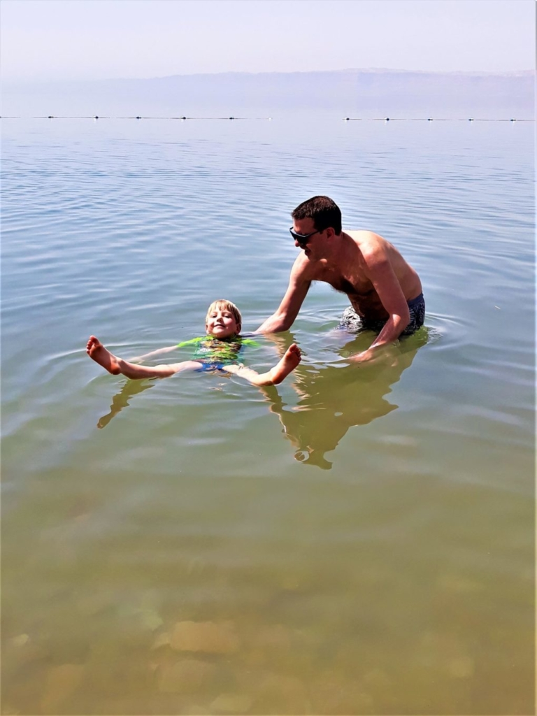 Visiting Jordan with kids: floating in the Dead Sea