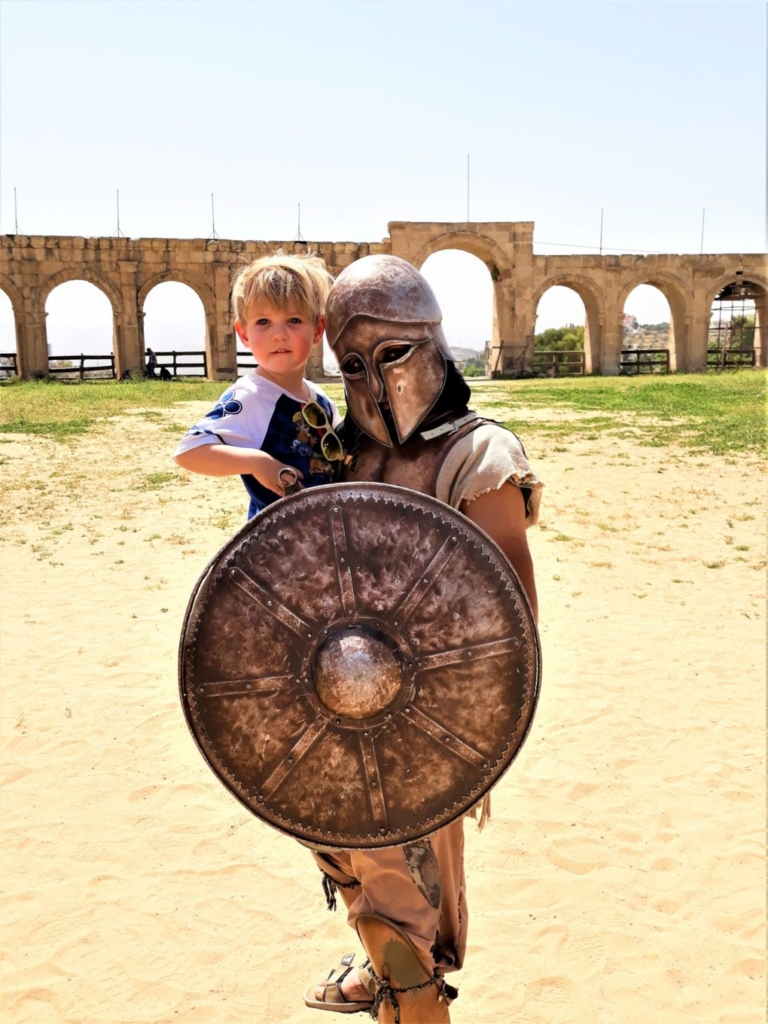 Visiting Jordan with kids meeting a gladiator