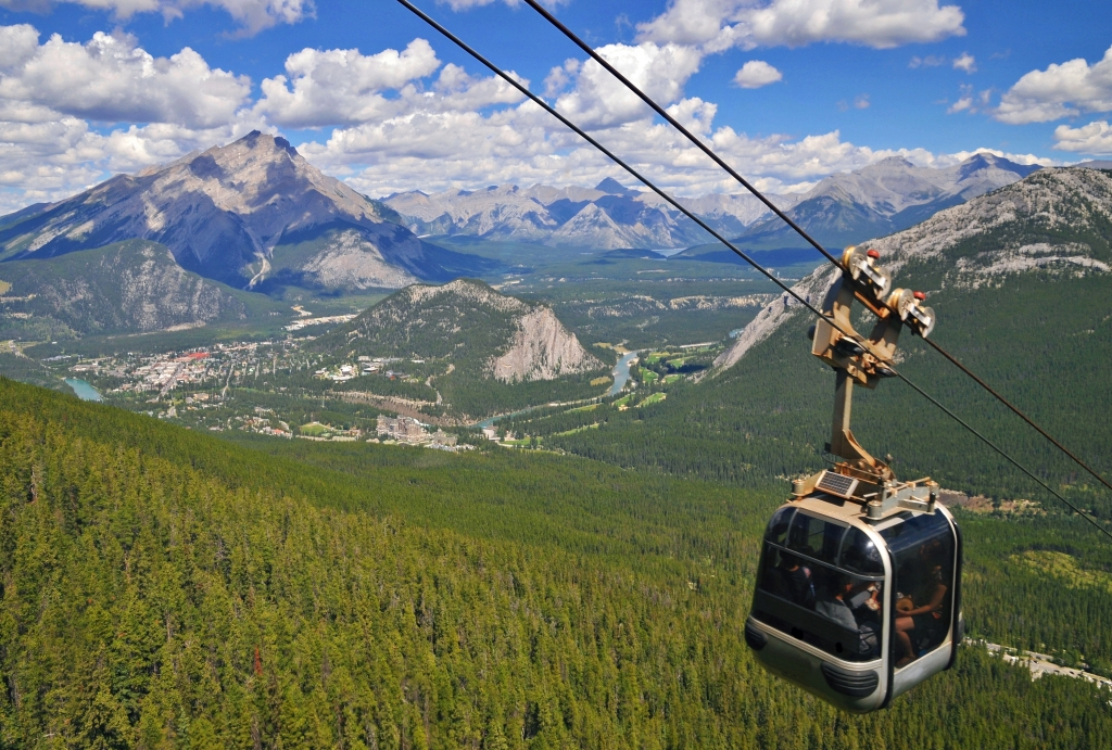 View over Banff and Bow Lake Valley from the gondola