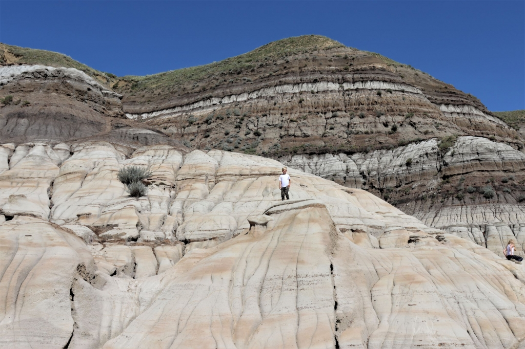 Rock-climbing around the Hoodoos near Drumheller
