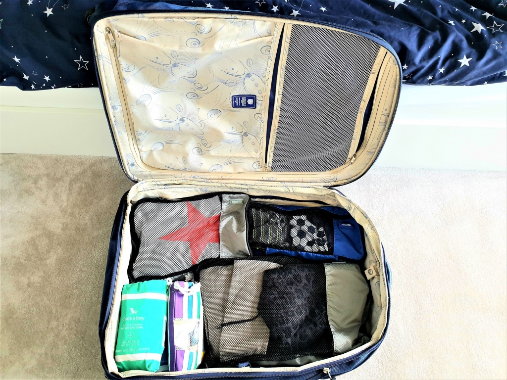 Family suitcase with packing cubes