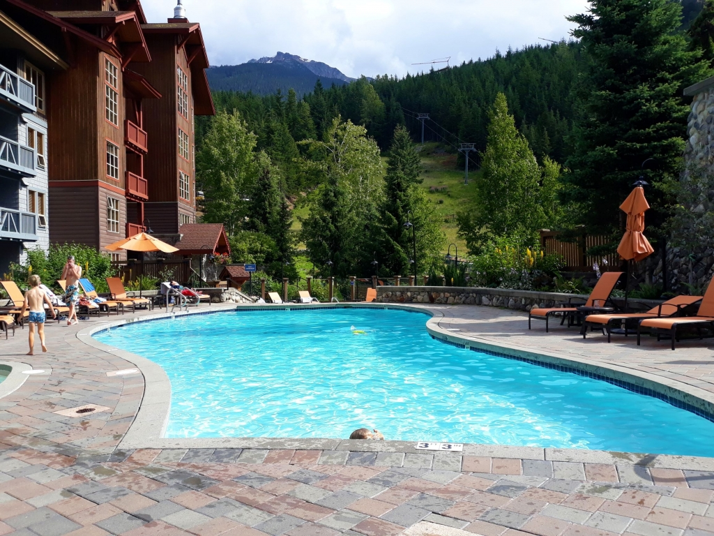 The pool area at Legends Hotel in Whistler Creekside