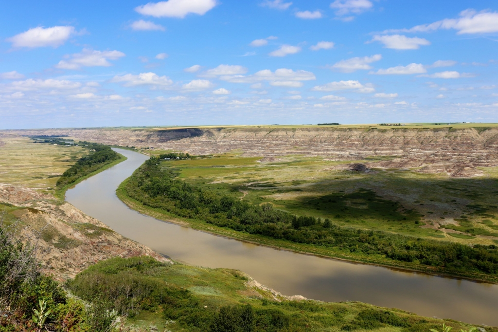 Views over the Red Deer River and canyon from the Orkney Lookout near Drumheller