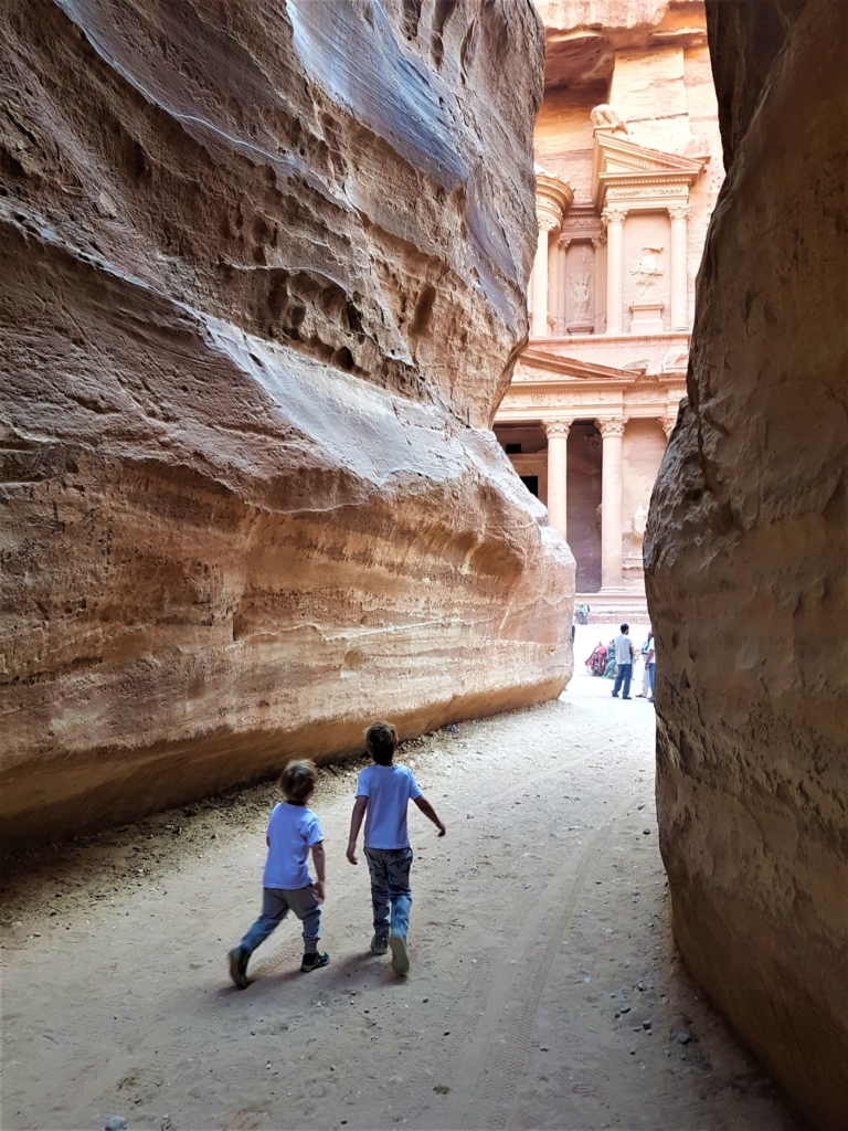 Visiting Petra with kids and seeing the Treasury from the Siq