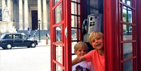 London with kids London phone box