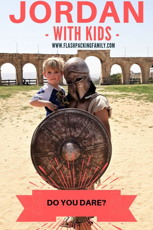 Kids meeting a gladiator in Jordan