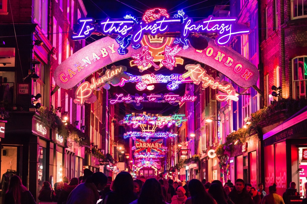 Christmas lights on Carnaby Street in London