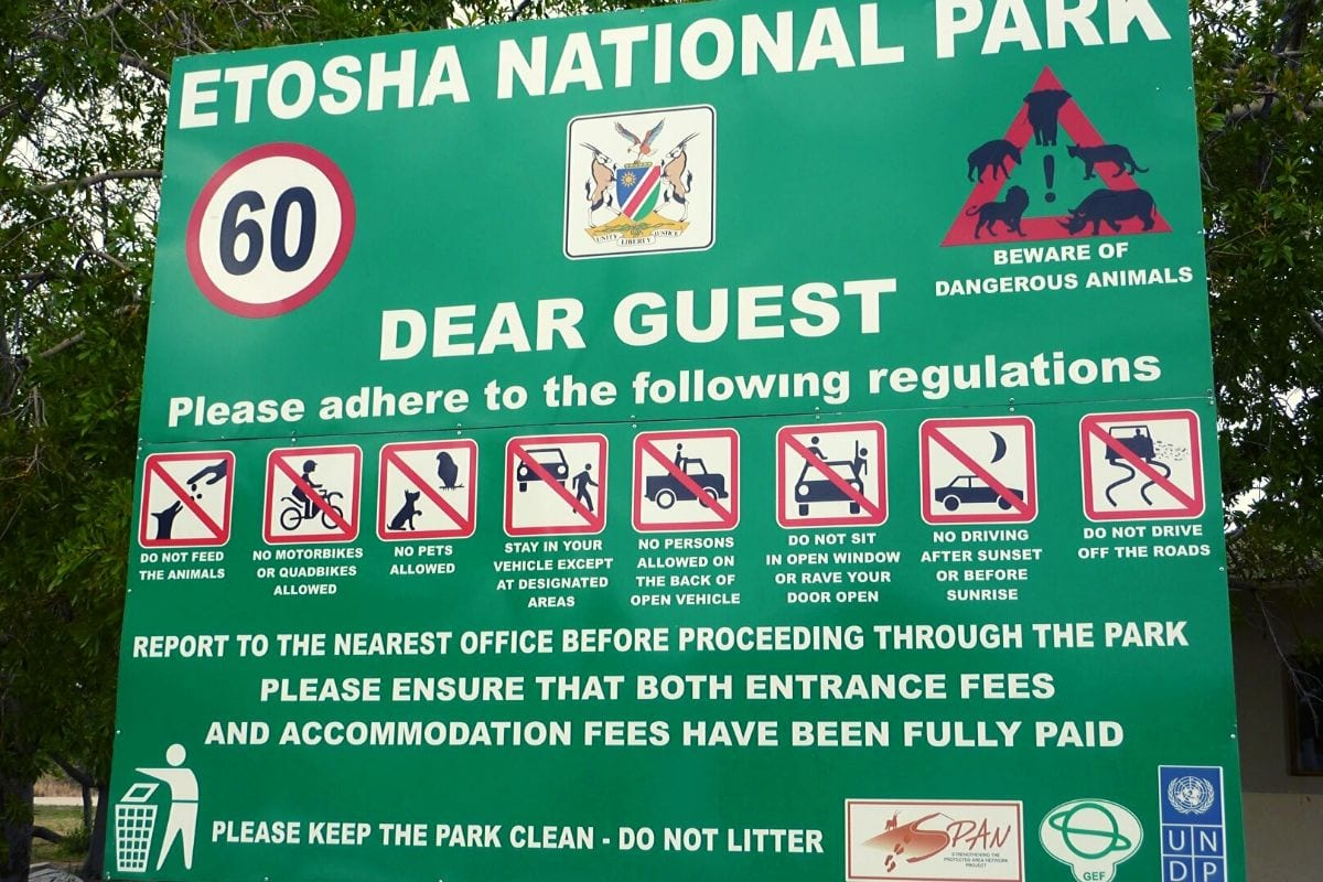 Etosha National Park rules