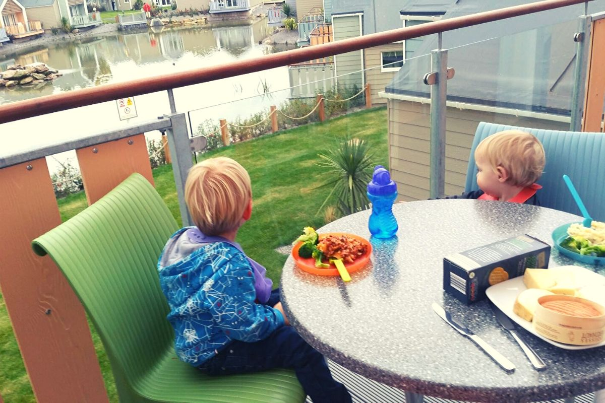 Dining on the balcony at Butlins Minehead
