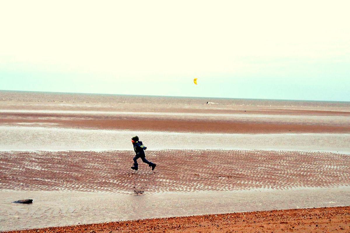 Kitesurfing at Old Hunstanton beach in North Norfolk