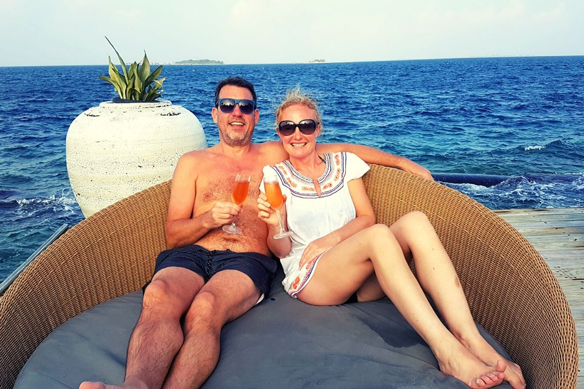 Sundowners in the Maldives while the kids are in kids' club