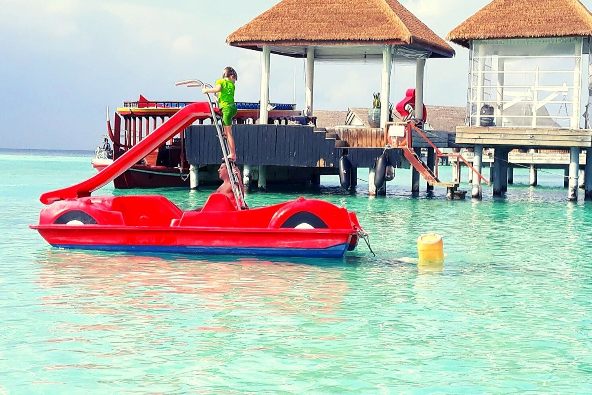 Water slide fun at the Centara Grand Island Resort & Spa Maldives