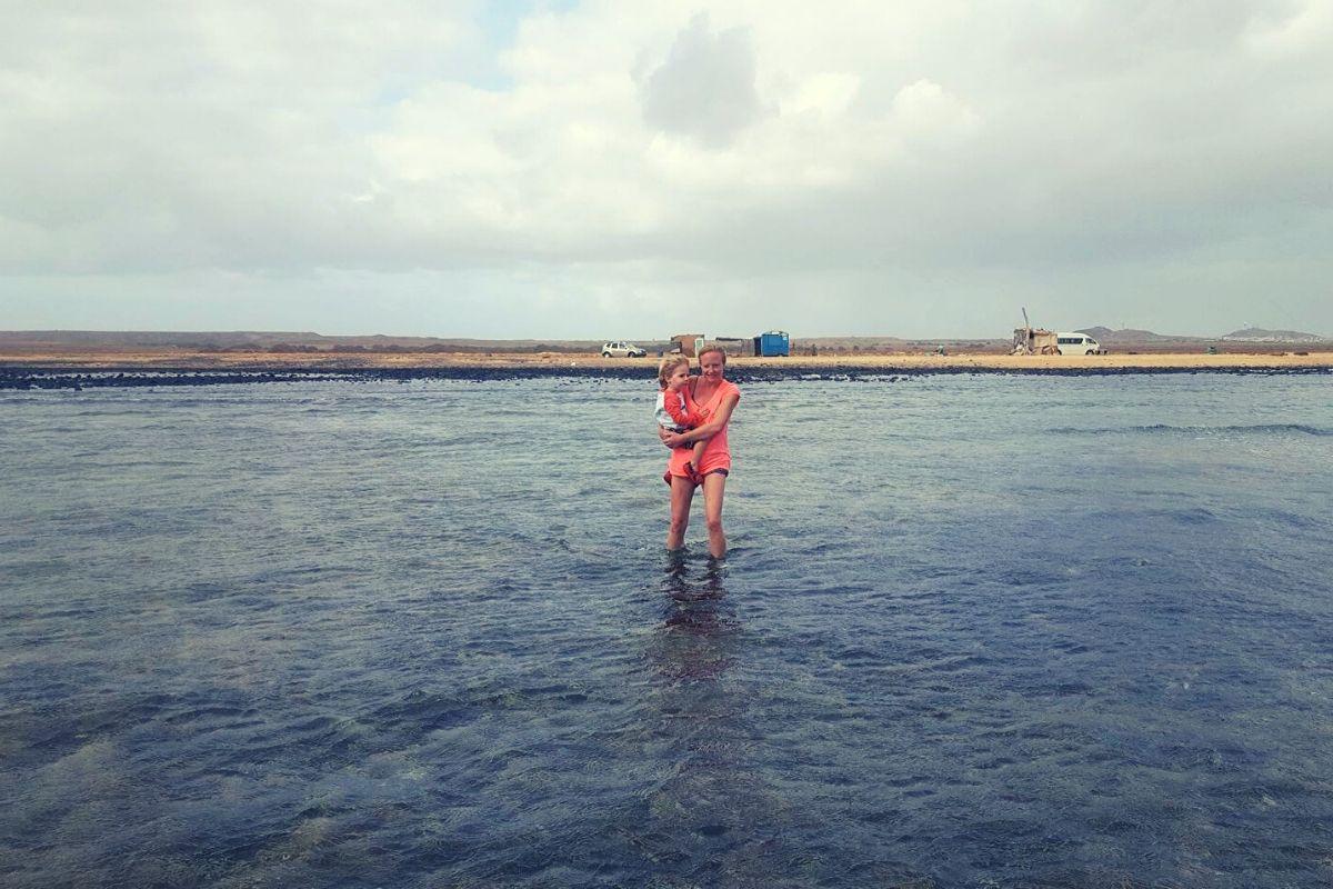 Wading with baby lemon sharks at Shark Bay Cape Verde
