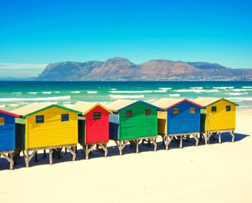 Colourful beach huts on Muizenberg beach