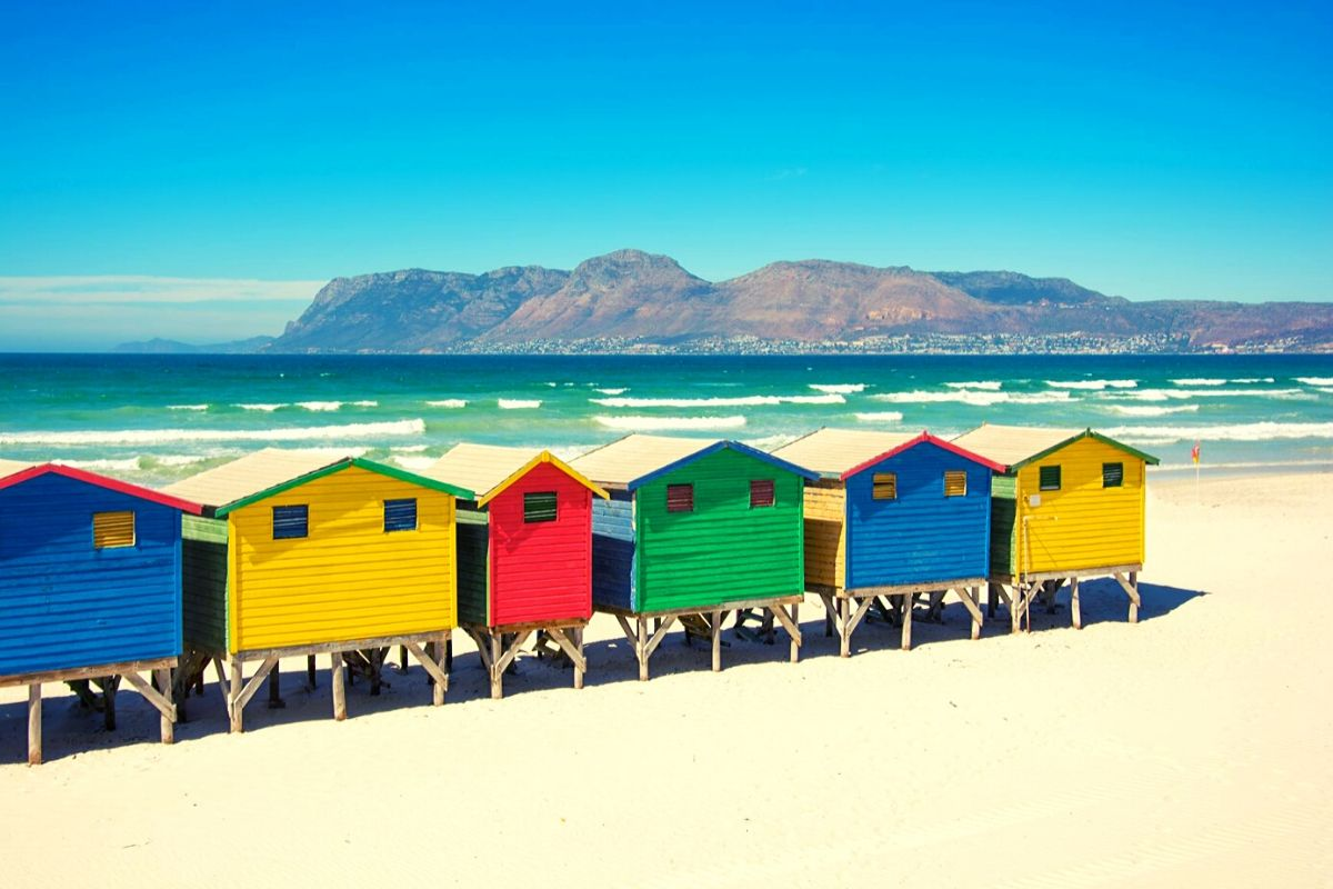Colourful beach huts on Muizenberg beach South Africa