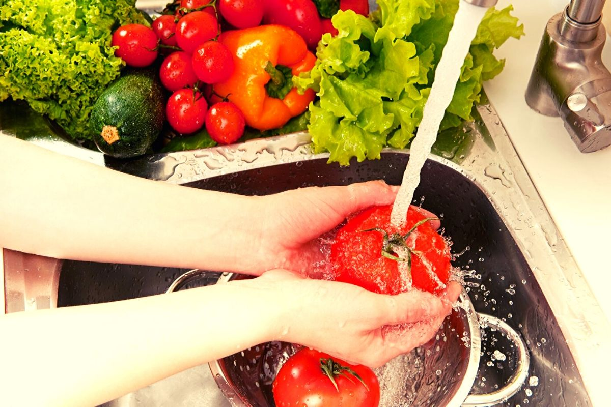 Make sure fruit and vegetables are washed and peeled