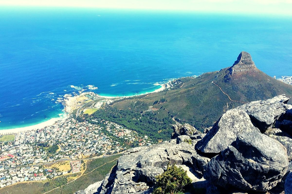 View of some of the best beaches in Cape Town from Table Mountain