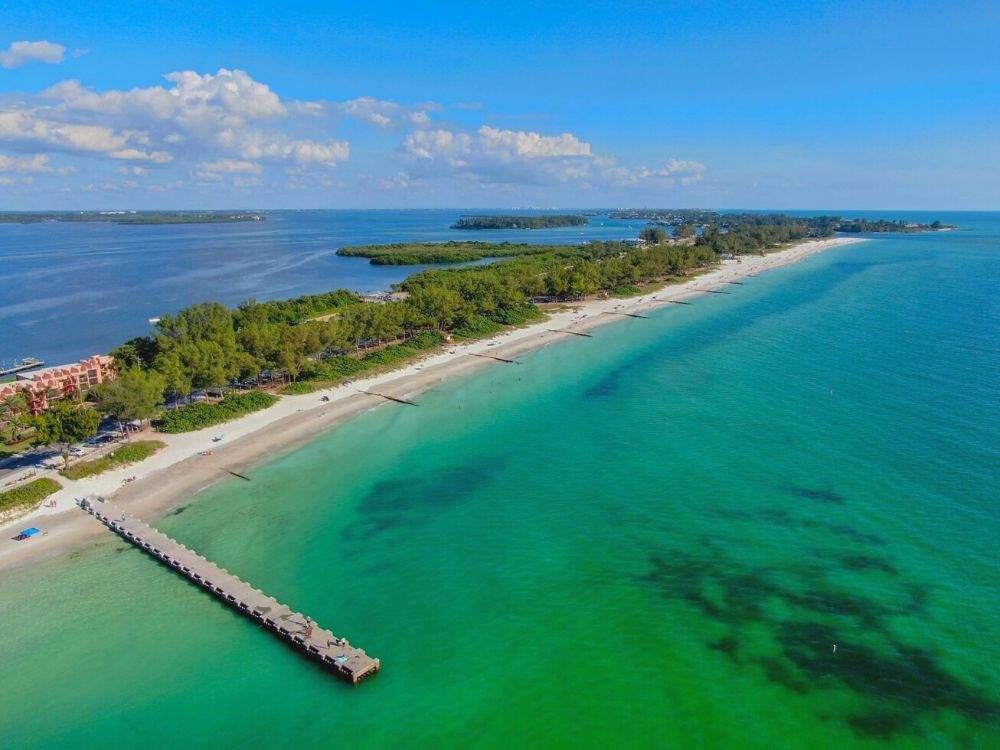 Aerial view of Anna Maria Island beaches