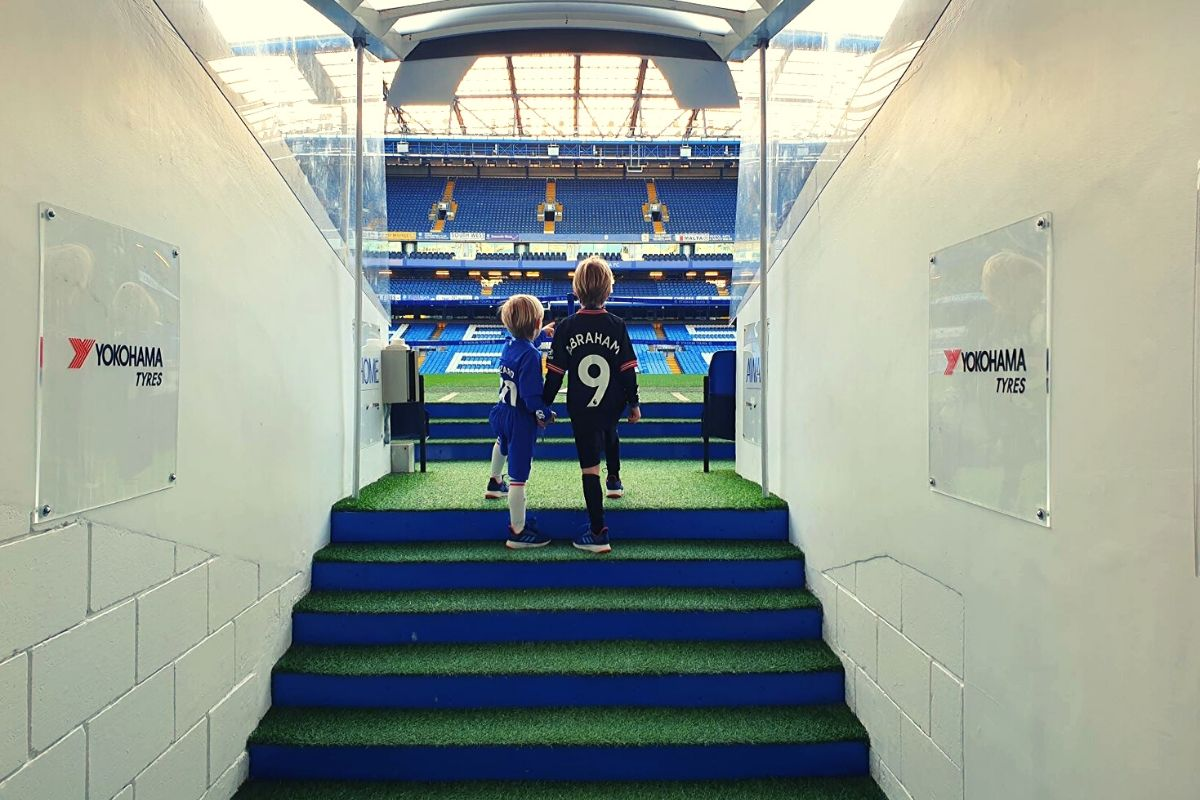 Walking through the players tunnel at Stamford Bridge