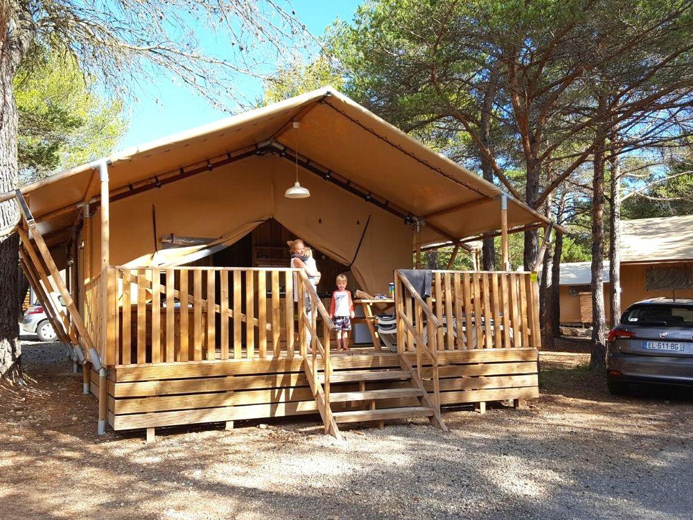 The safari tent at Camping La Farigoulette