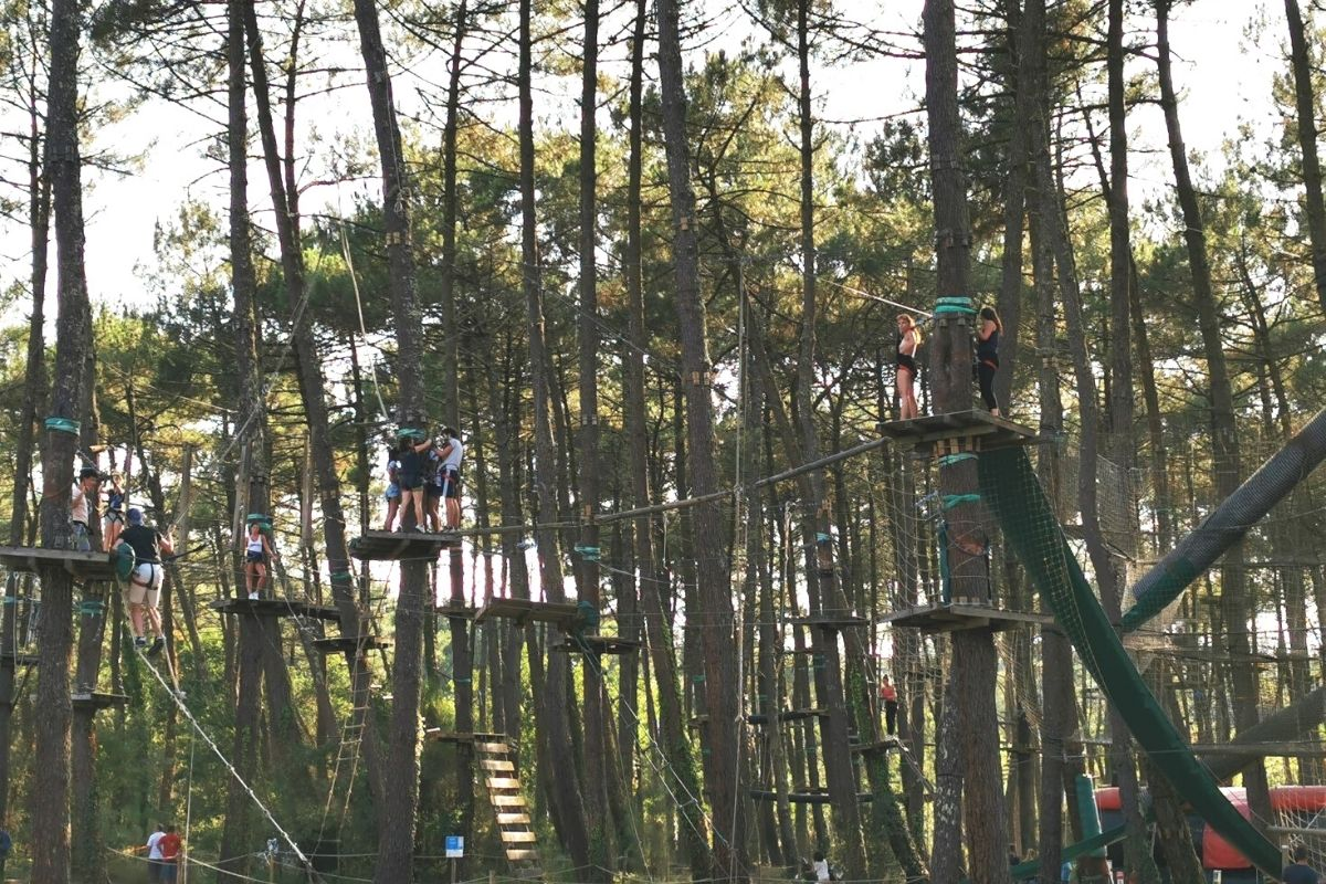 The high ropes at Adrenaline Parc in Moliets