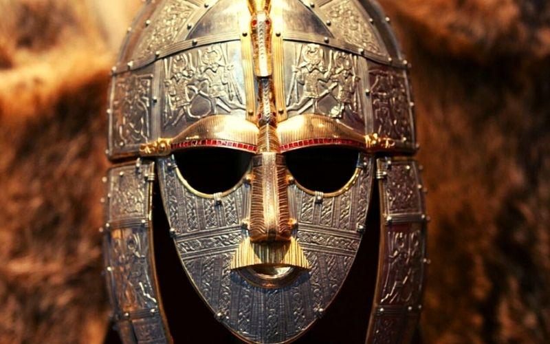 Anglo Saxon helmet found at Sutton Hoo.