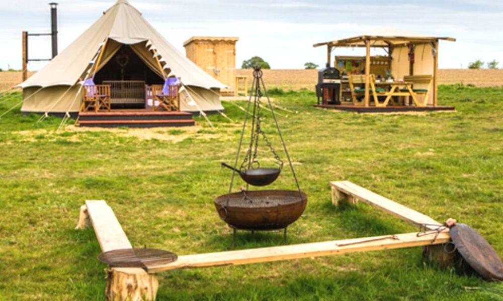 Bell tent at Little Wren Glamping in Suffolk