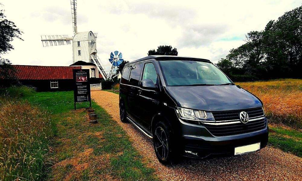 Campervan next to Saxted Windmill in Suffolk