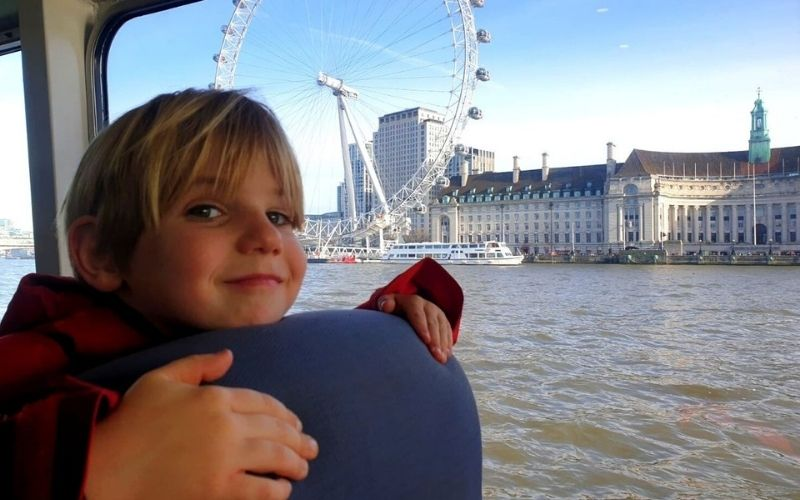 Enjoying a ride on the River Bus in London with the London Eye in background.