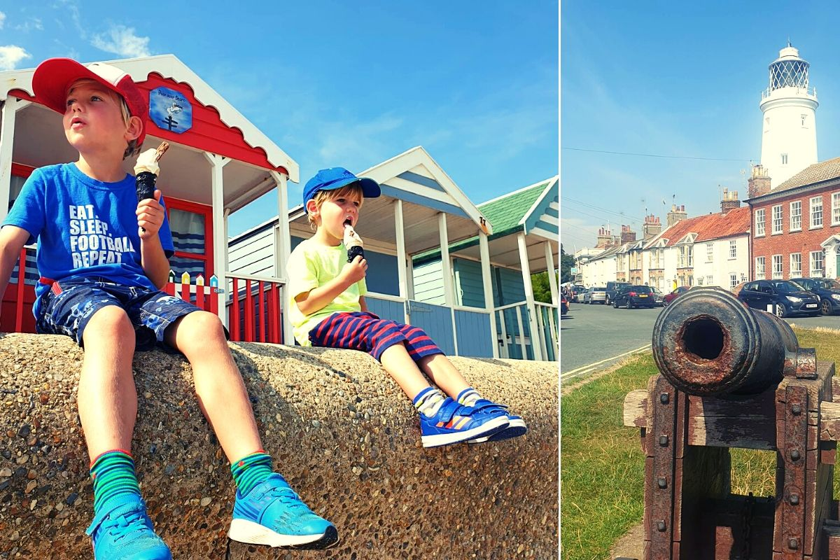Enjoying ice creams on the seafront at Southwold