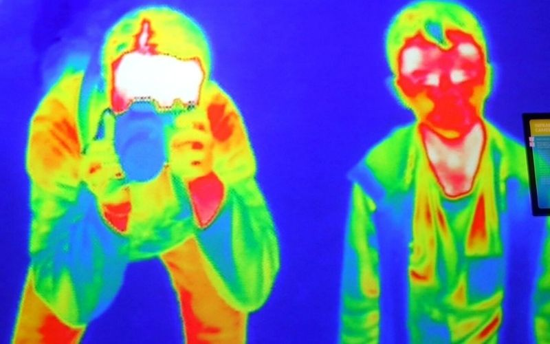 thermal image of someone taking a photo