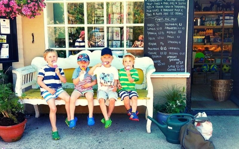 Eating ice creams on a warm day in Suffolk with kids.