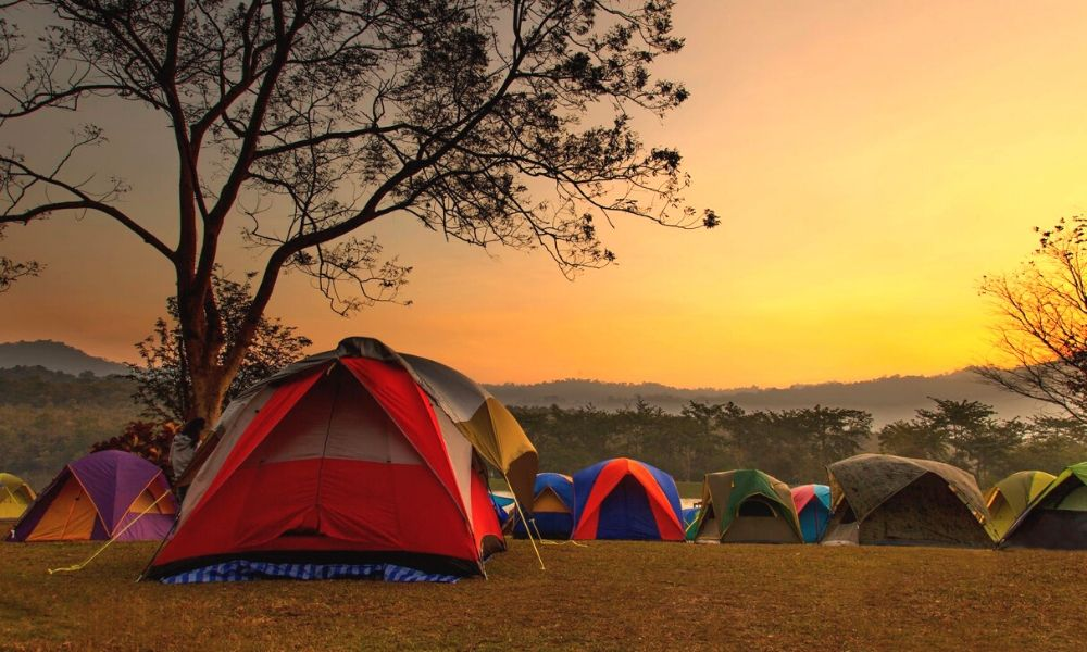Sunset over tents in Suffolk