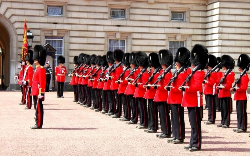 The Changing of the Guards at Buckingham Palace.