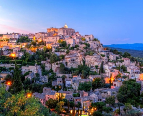 The beautiful village of Gordes at sunset
