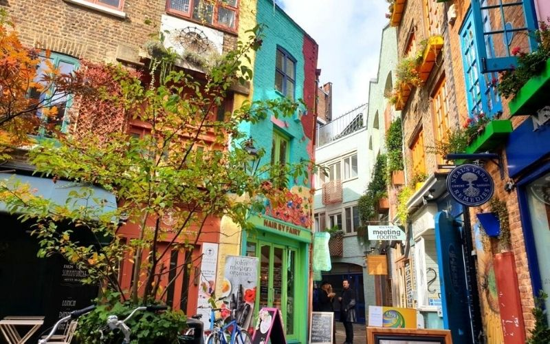 The colourful shops and restaurants at Neal's Yard.