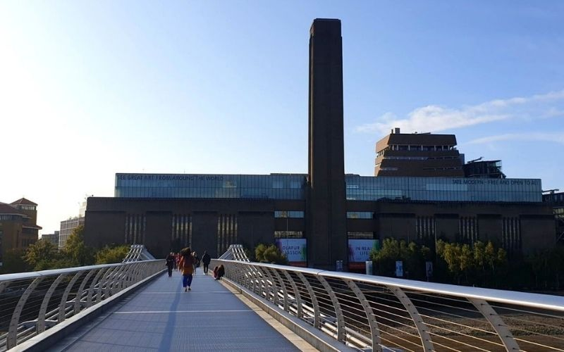 View of the Tate Modern from the Millenium Bridge.