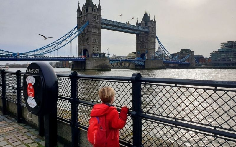 Waiting for Tower Bridge to open.