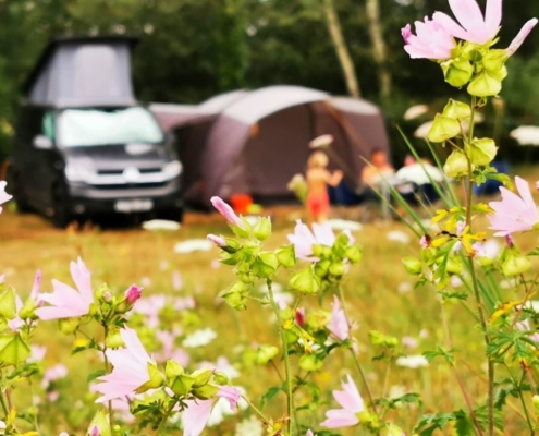 Camping with kids in a VW camper van with a drive away awning