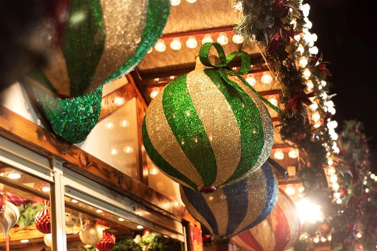 Christmas decorations at Nottingham Christmas market
