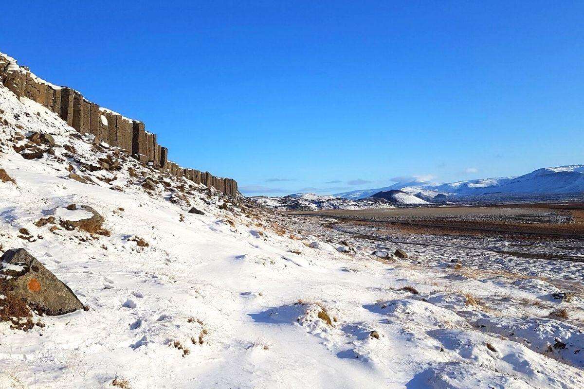 Gerðuberg cliffs in winter
