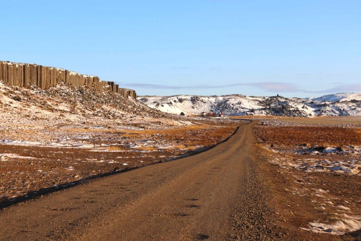 Gravel track with potholes in Iceland