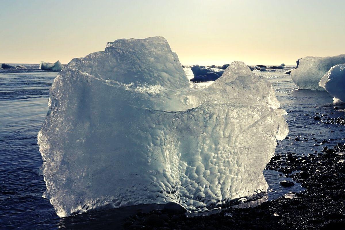 Large ice block on Diamond Beach Iceland
