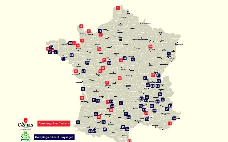 Map of Les Castels Campsites in France