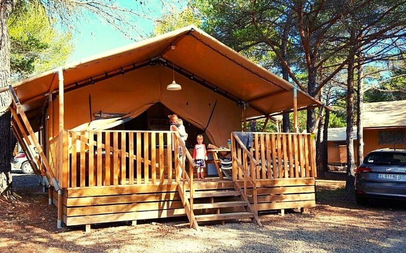 Safari tent at Camping la Farigoulette