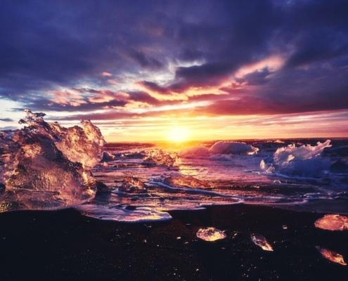 Sunrise at Diamond Beach Iceland