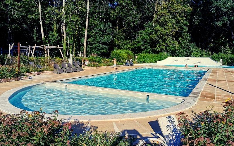 The pool area at Château de Chanteloup