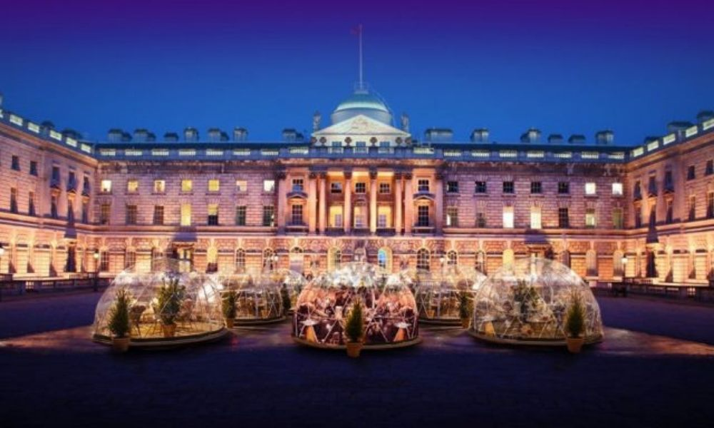 Dining pods at Somerset House
