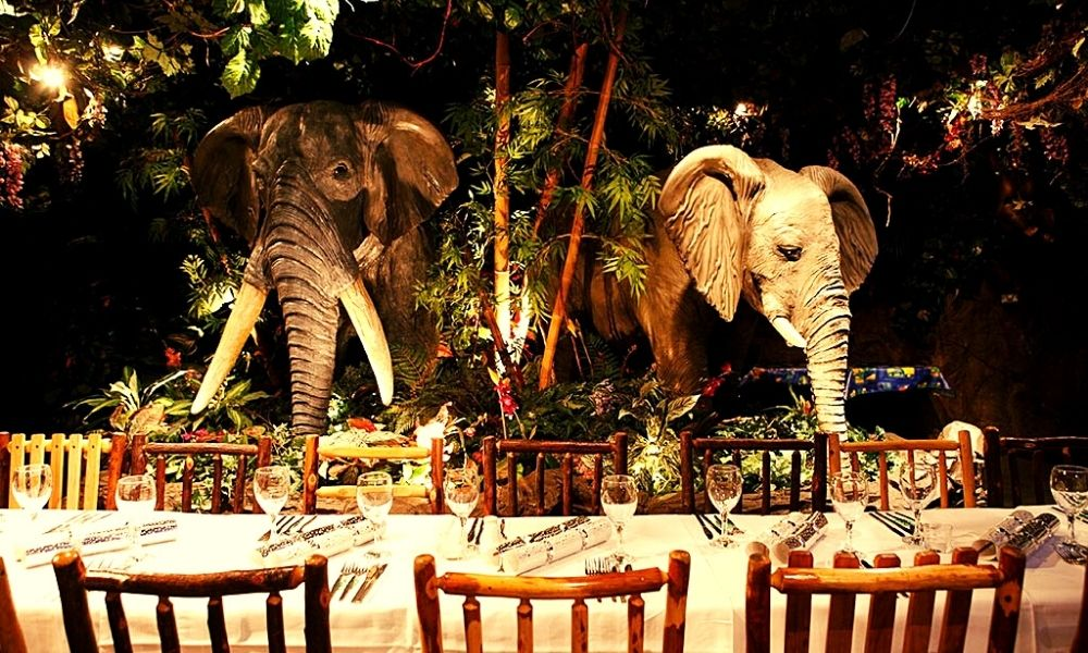 Dining with elephants at the Rainforest Café